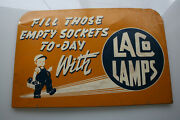 Laco Lamps Metal 1950and039s Rack Sign Double Sided Service Station Rare Advertisemen