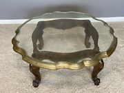 Stunning Brass And Carved Wood / Glass Coffee / Tray Table. Mid Century