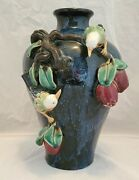 Large Antique Majolica Blue Vase With Birds And Vines - Free Ship