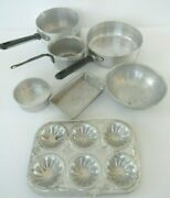 Vintage 1960's Metal Toy Cooking Pans Andmuffin Tin Children Italy - Lot Of 7 Pc