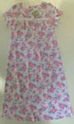 Aria Womenand039s Long Nightgown Short Sleeves Pink Blue Floral S M L Xl