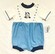 Nwt Sears Teddy Bear Toys Toy Box Vintage Blue And White Short Romper, 3-6 Mos.