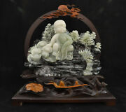 Chinese Natural Xiu Jade Jadeite Lohan Monk Wealth Ingots Home Gift Occult Decor
