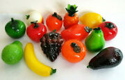Glass Fruits Vegetables Lot Of 14 Murano Style Hand Blown A