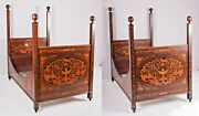 Antique Beds, Pair, Herts Bros Marquetry Inlaid Dutch Style Twin Size, 1800s