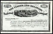 1870s Us Stock Bond Certificate - Ulster And Delaware Railroad Company - Remainder