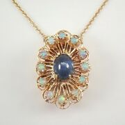 Antique Vintage 14k Yellow Gold Sapphire And Opal Pendant Necklace 18 Chain