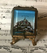 Antique French Jewelry Box / Pocket Watch Holder With Mont St Michel C1900