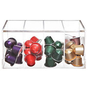 Deluxe Clear Acrylic 4 Compartment Hinge Lid Capsule Holder/tea Bag Organizer