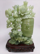 Big Chinese Carved Pale Celadon Jade Flowers, Birds And Movement Bird Cage W/ Base