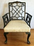 Armchair. English Chinoiserie Black Lacquer With Gold. Late 19th Century