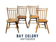 19th C Antique Set Of 4 Country Primitive Bamboo Carved Bird Cage Windsor Chairs