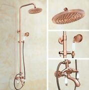 Red Copper Bathroom Shower Faucet Set Wall Mount Dual Handle With Handshower