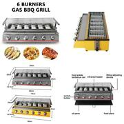 Bbq Grill Gas Barbecue 6 Burner Infrared Smokeless Roasting Tray Lpg Gas Steel G