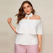 Womens Plus Size Tops Off Shoulder Ruffle Blouse Summer Shirts Large Clothing