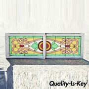 Victorian Leaded Stained Glass Pink Green Red Orange Windows W/ Jewels - A Pair