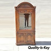 Italian Renaissance Style Shell Carved Pine Wood Corner Cabinet China Cupboard