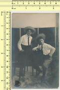 118 Two Girls With Hats Shirts Ties Females Portrait Vintage Photo Old Original