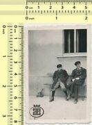 077 1940's Two Boys Sitting On Bench Kids Hats Coats Funny Abstract Old Photo