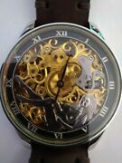 Vintage Gold Silver Omega Naked Woman Skeleton  Wristwatch Nude Girl Watch