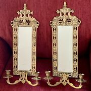"""Pair Antique Mirror And Brass Candle Holder Wall Scones Gilt Dolphins 23""""x8"""""""