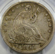 1867-s Seated Liberty Half Dollar Pcgs Xf-40... So Very Nice Looks Undergraded