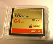 Sandisk Extreme 64gb Compact Flash Udma7 Card 120mb/s Cf Cards For Dslr Hd Video
