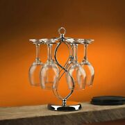 Wine Cup Rack Red Wine Glass Cup Standing With 6 Hooks Stainless Steel Hanging