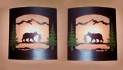 Pair Of 2 Wall Sconce Rustic Bear Lights, Hand Painted Pine Trees, Decor Lamp