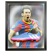 Signed Lionel Messi Football Boot - Framed Champions League Winner +coa