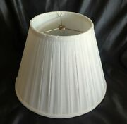 Vintage Hollywood Silk And Piping Pleated Lamp Shades Shade White