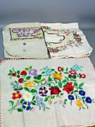 Lot Of 3 Vintage Pillowcases Embroidered