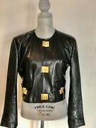 Vintage 1989 Moschino Cheap And Chic Lock Key Black Leather Cropped Jacket
