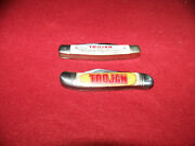 Two Old Trojan Seed Corn Small Two Blade Advertising Pocket Knife Used