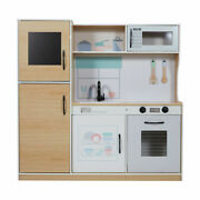Kids Pretend Play Large Wooden Kitchen Set Microwave Oven Fridge Sink Pink R1...