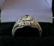 Victorian Edwardian Antique Engagement Ring 14k White Gold Over 2.18 Ct Diamond