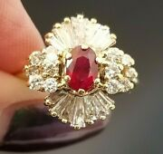 1.50tcw Vintage Rich Red Ruby Diamond Ballerina Halo 18k Yellow Gold Ring