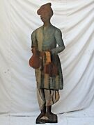 Antique Dummy Board Khitmagar India Butler Figure Hand Painted Oil On Wood