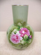 Lefton China Hand Painted Heritage Green Vase - Pink And White Roses - Ne1266