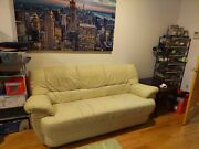 Italian Leather Biege Sofa Used In Great Condition