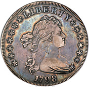 1798 Bust Dollar Large Eagle Pointed 9 Wide Date B-12 Bb-120 R4 Anacs Vf35