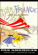 France Europe Pan American French Vintage Repro Airline Travel Ad Print Poster