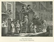 Hogarth Engraving The Stage Coach Country Inn Yard 1891 Vintage Antique Print