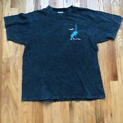 Men's Vintage 90s American West Airlines Acid Stone Washed Teal T Shirt Tee Sz L