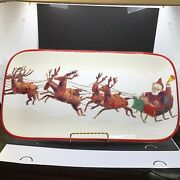 """Williams Sonoma Santa And His Reindeer Serving Plate Holiday Christmas 17""""x9"""""""