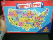 1993 Milton Bradley Map Of The United States And World Map 2-sided Puzzle Ak Hi