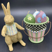 Vintage Debbie Mumm Spring Bunny With Egg Candles In A Bucket In Original Box