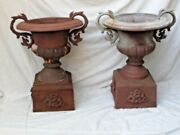 Antique Pair Cast Iron Urns / Planters With Handles Large Standing