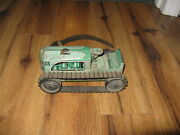 Vintage Marx 5 1950's Tin Litho Wind Up Green Farm Tractor For Parts Restoration