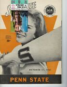 1961 Football Program Syracuse Indians Penn State Nittany Lions And Ticket Stub Ex